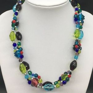 Chico's Blue Green Purple Art Glass Bead Necklace